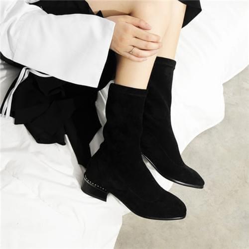 韩版平底粗跟袜靴
